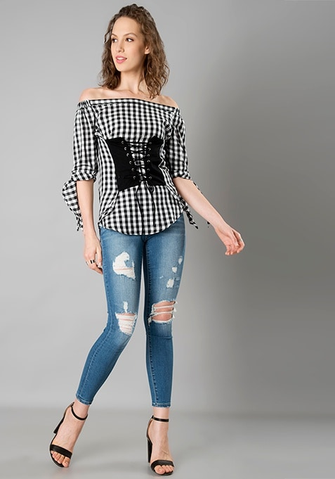 Corset Off Shoulder Top - Gingham