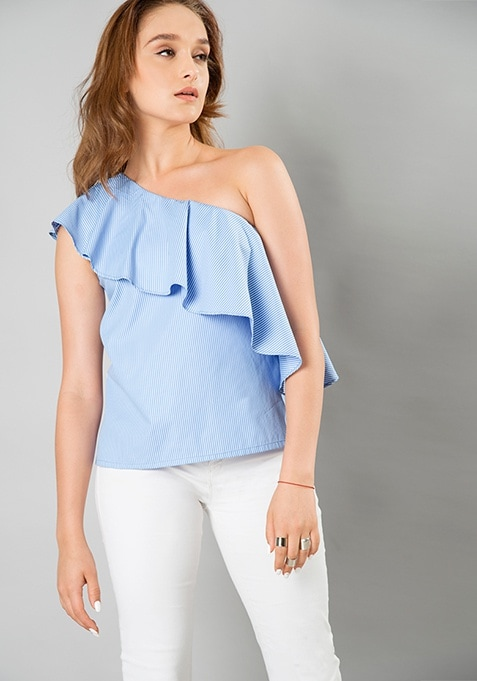 Ruffled One Shoulder Top - Stripes