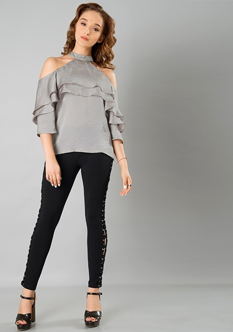 Double Ruffle Top - Grey Satin