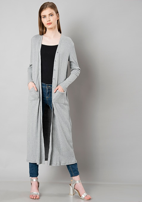 Ribbed Knit Longline Shrug - Grey