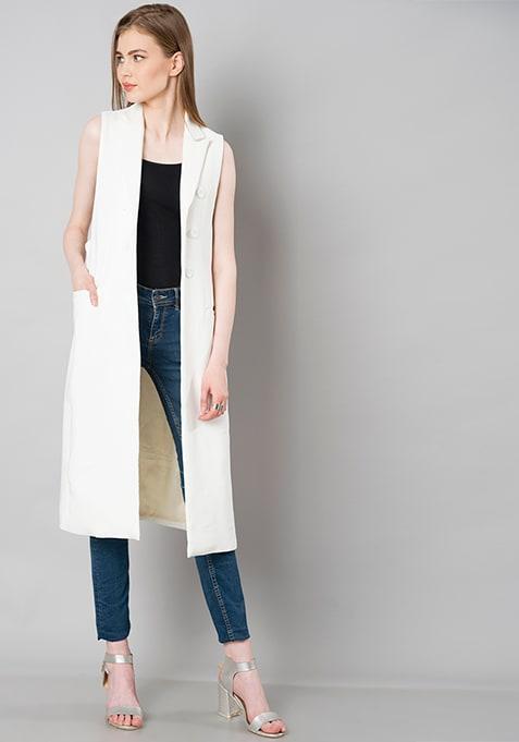 Sleeveless Longline Shrug - White