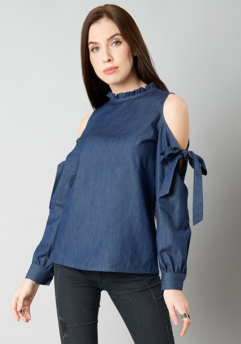 Denim Cold Shoulder Tie Up Top