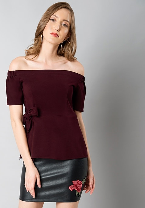 Wine Off Shoulder Peplum Top