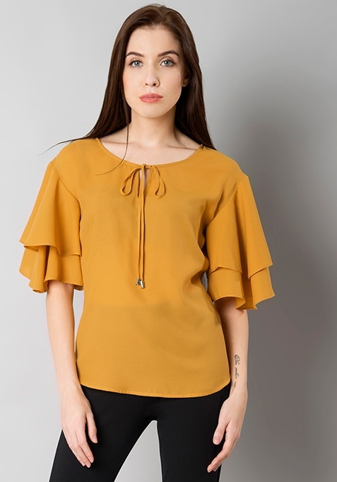Mustard Ruffled Sleeve Blouse