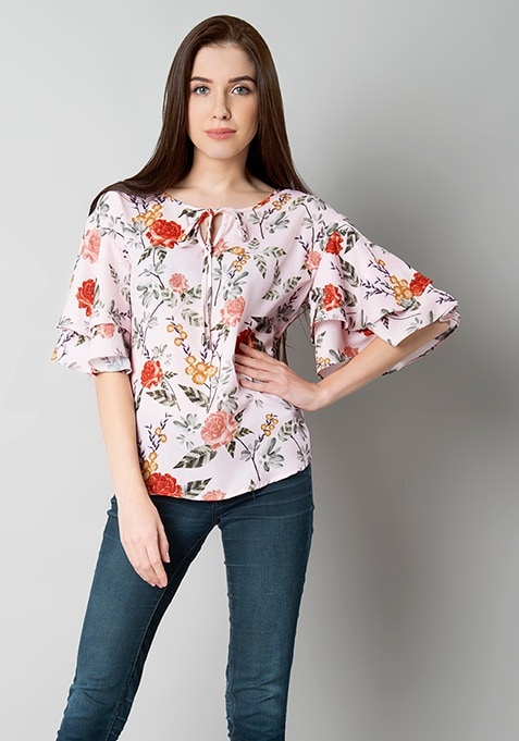 Ruffled Sleeve Blouse - Blush Floral