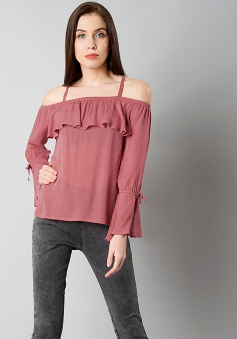 Dusty Pink Strappy Off Shoulder Top