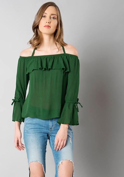 Dark Green Strappy Off Shoulder Top