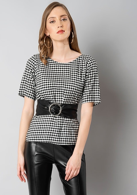 Gingham Top With Belt - Black