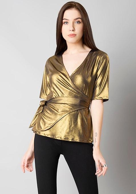 Gold Lurex Wrap Tie Top