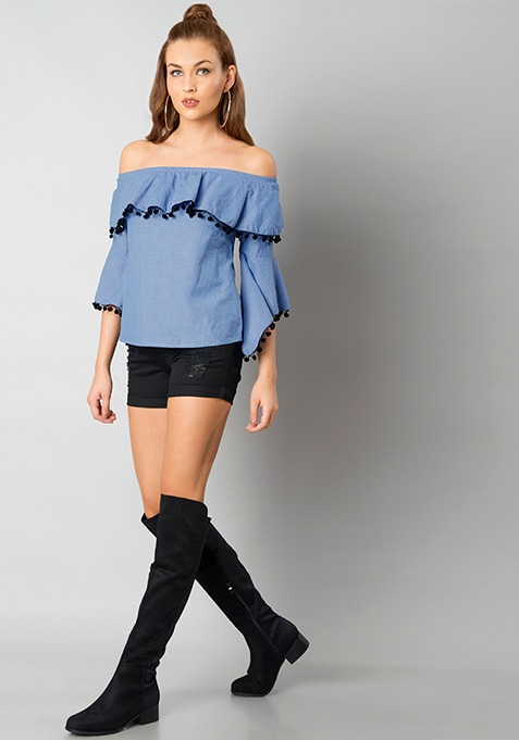 Denim Ruffle Sleeve Bardot Top