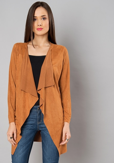 Tan Suede Waterfall Shrug