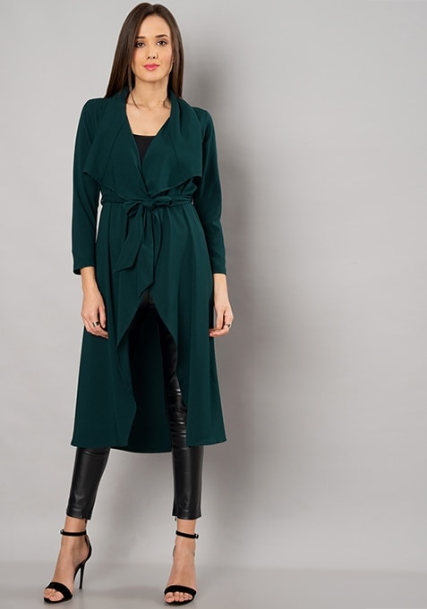 Teal Belted Waterfall Shrug