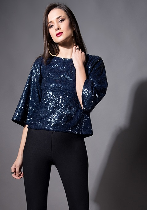 Navy Sequin Boxy Top