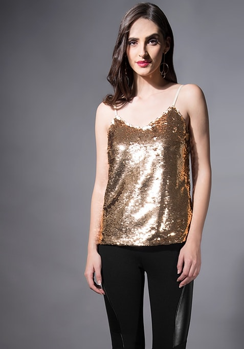 5a290a28118 Buy Women Rose Gold Sequin Spaghetti Top - Tops Online India - FabAlley