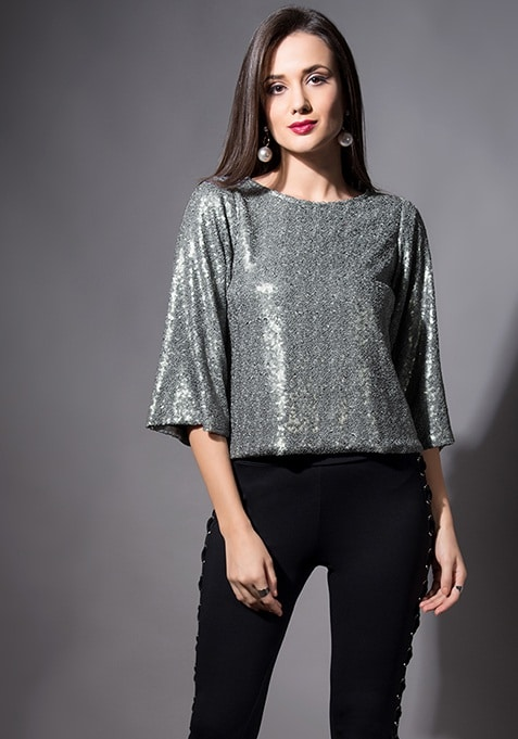 Grey Flared Sleeve Sequin Top