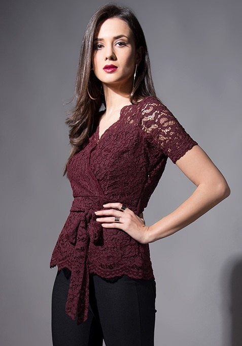 Wine Wrap Up Lace Top