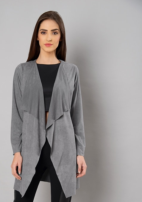 Grey Waterfall Suede Shrug