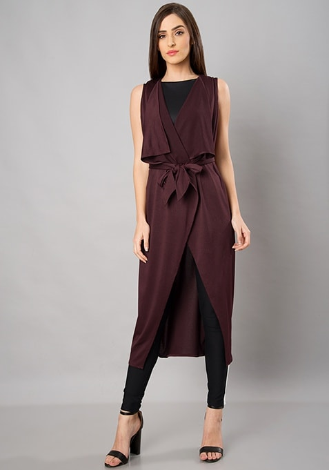 Wine Belted Sleeveless Longline Shrug