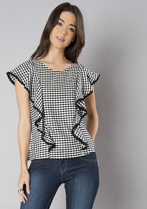Black Gingham Ruffle Front Top