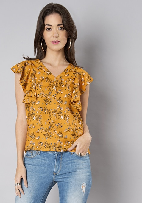 Mustard Floral Ruffle Front Top