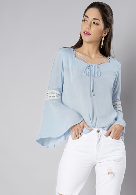 Pale Blue Sleeve Insert Bell Sleeve Top