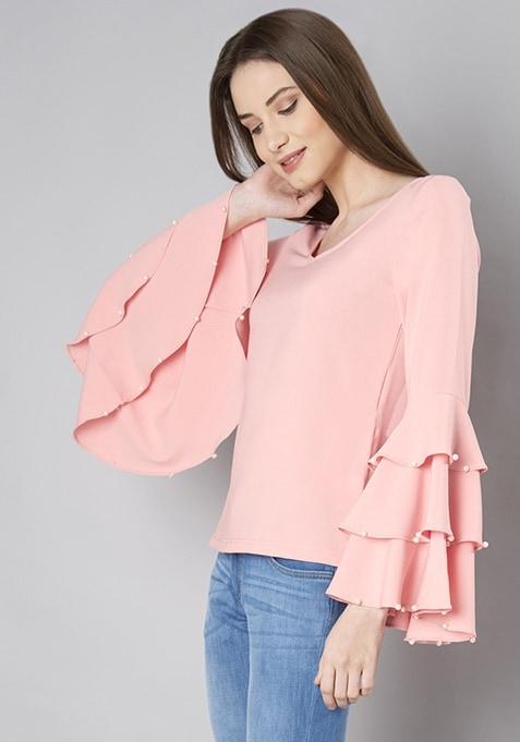 Pink Pearl Insert Triple Bell Sleeve Top