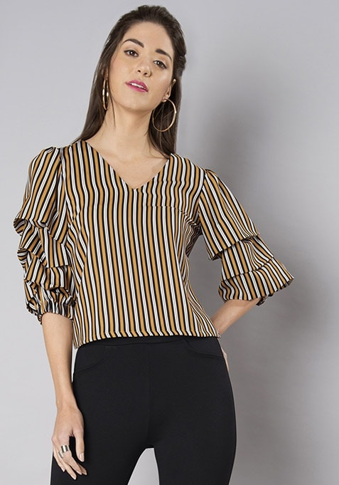 Striped Layered Sleeve Back Tie Up Blouse