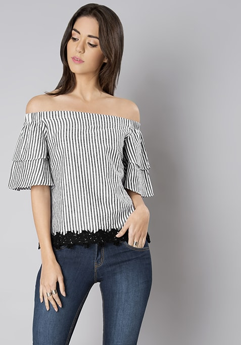 Black Striped Lace Insert Top