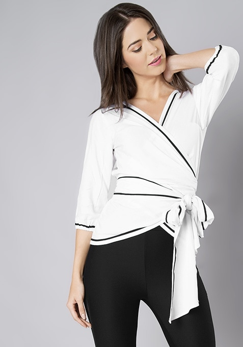 White Piped Wrap Tie Top
