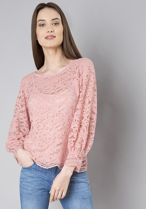 Pink Back Cut Balloon Sleeve Lace Top