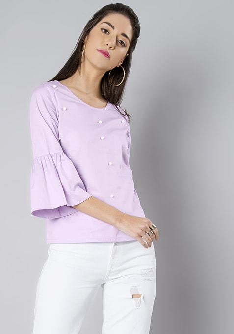 Lilac Pearl Embellished Bell Sleeve Top
