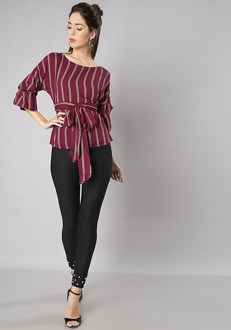 Maroon Striped Belted Top