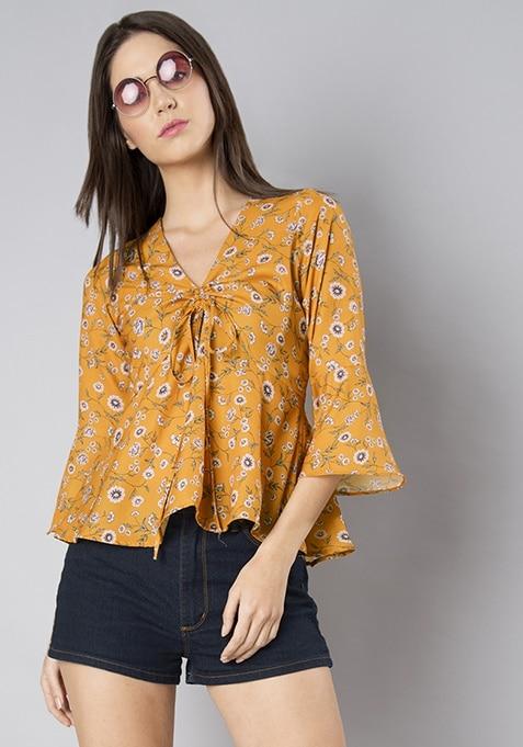 Mustard Floral Bell Sleeve Drawstring Top