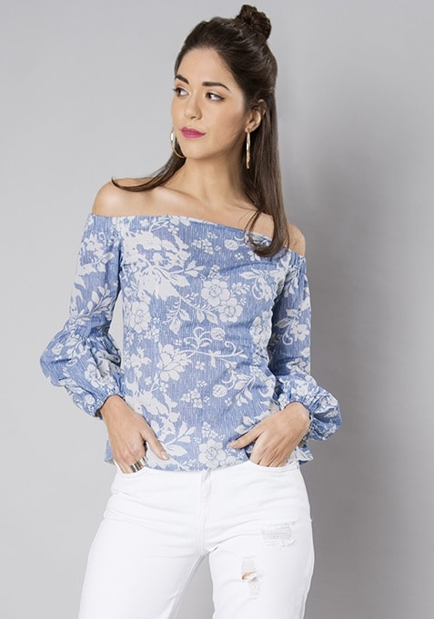Blue Floral Lantern Sleeve Bardot Top