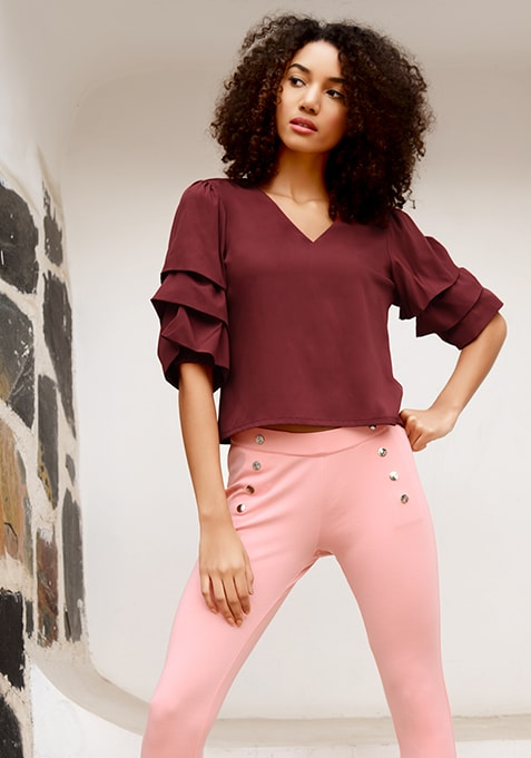 Maroon Ruffled Layer Sleeve Back Tie Up Blouse