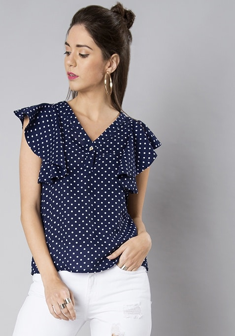 Navy Polka Ruffled V Neck Blouse