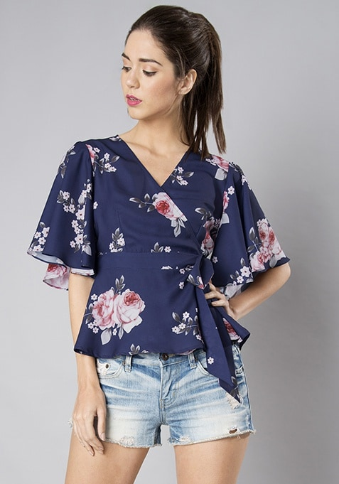 Navy Floral Flared Sleeve Wrap Blouse
