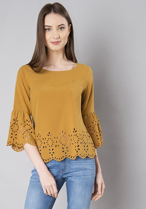 e7568cd6aa Buy Women Mustard Laser Cut Bell Sleeves Top - Blouses Online India ...