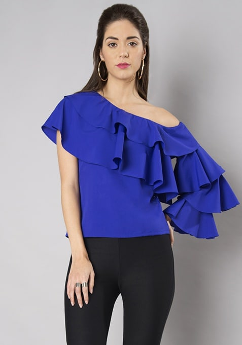 Royal Blue Layered Sleeve One Shoulder Top