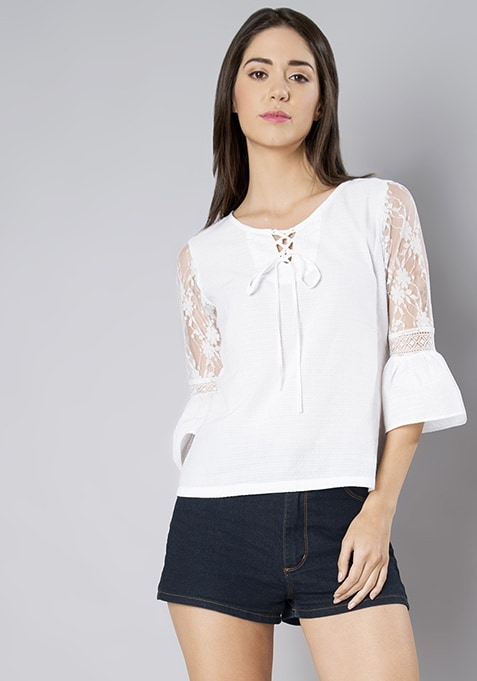 White Lace Bell Sleeve Cotton Top