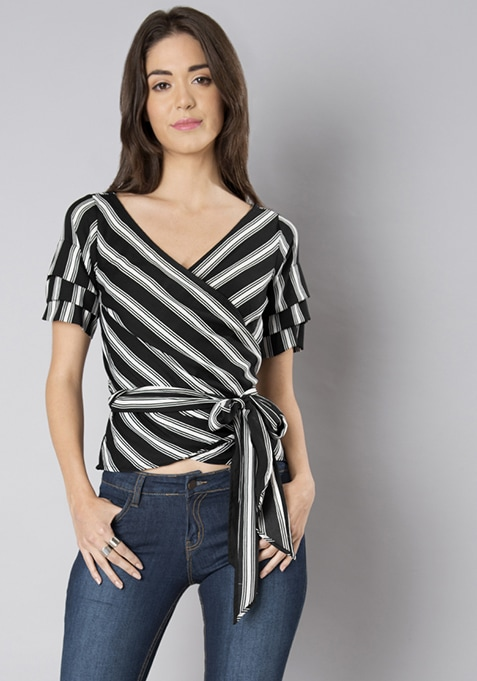 Black Striped Georgette Wrap Top