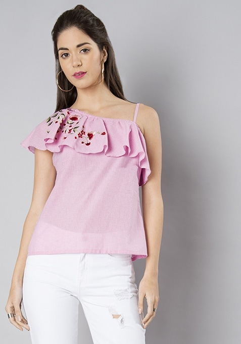 Pink Gingham Embroidered One Shoulder Strappy Top