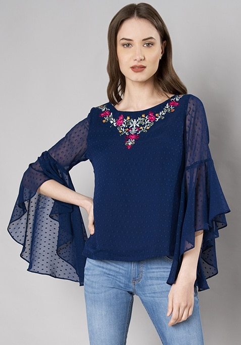 Blue Embroidered Flutter Sleeve Top