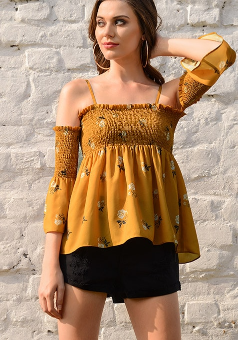 Mustard Strappy Smocked Georgette Top