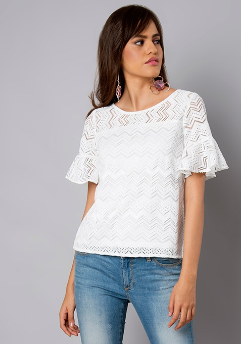 White Aztec Lace Ruffle Sleeve Top