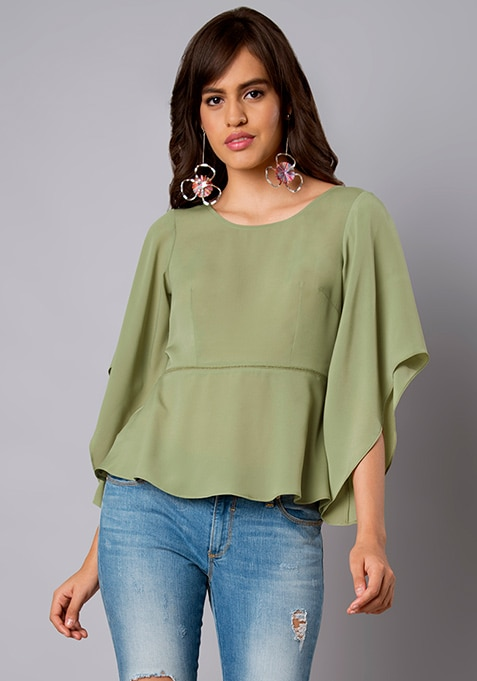 Green Ladder Lace Crepe Top