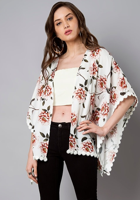 White Floral Kaftan Shrug