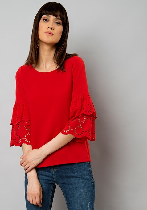 Red Laser Cut Bell Sleeve Top
