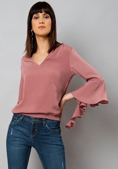 Dusty Pink Cascade Sleeve Wrap Top