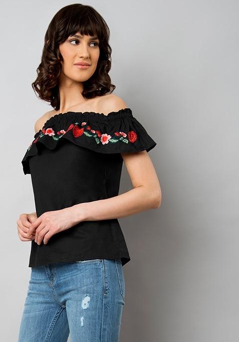 Black Floral Embroidery Off-Shoulder Top